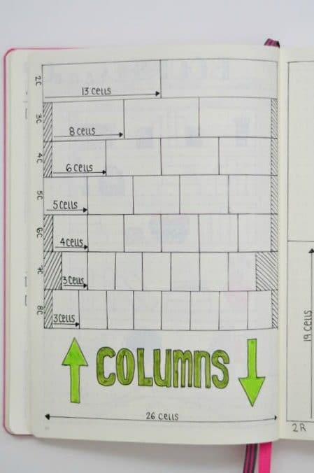Dividing your bullet journal page into equal columns and rows