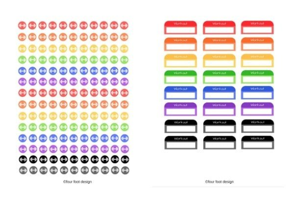 Free Printable Workout Stickers for your bullet journal