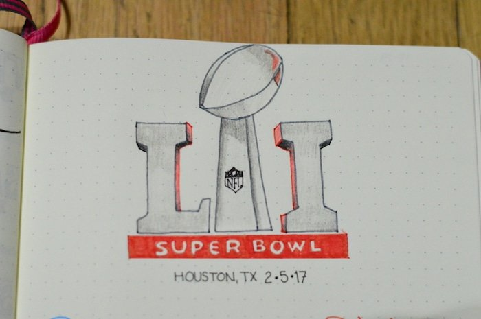Bullet Journal Superbowl LI Tracker