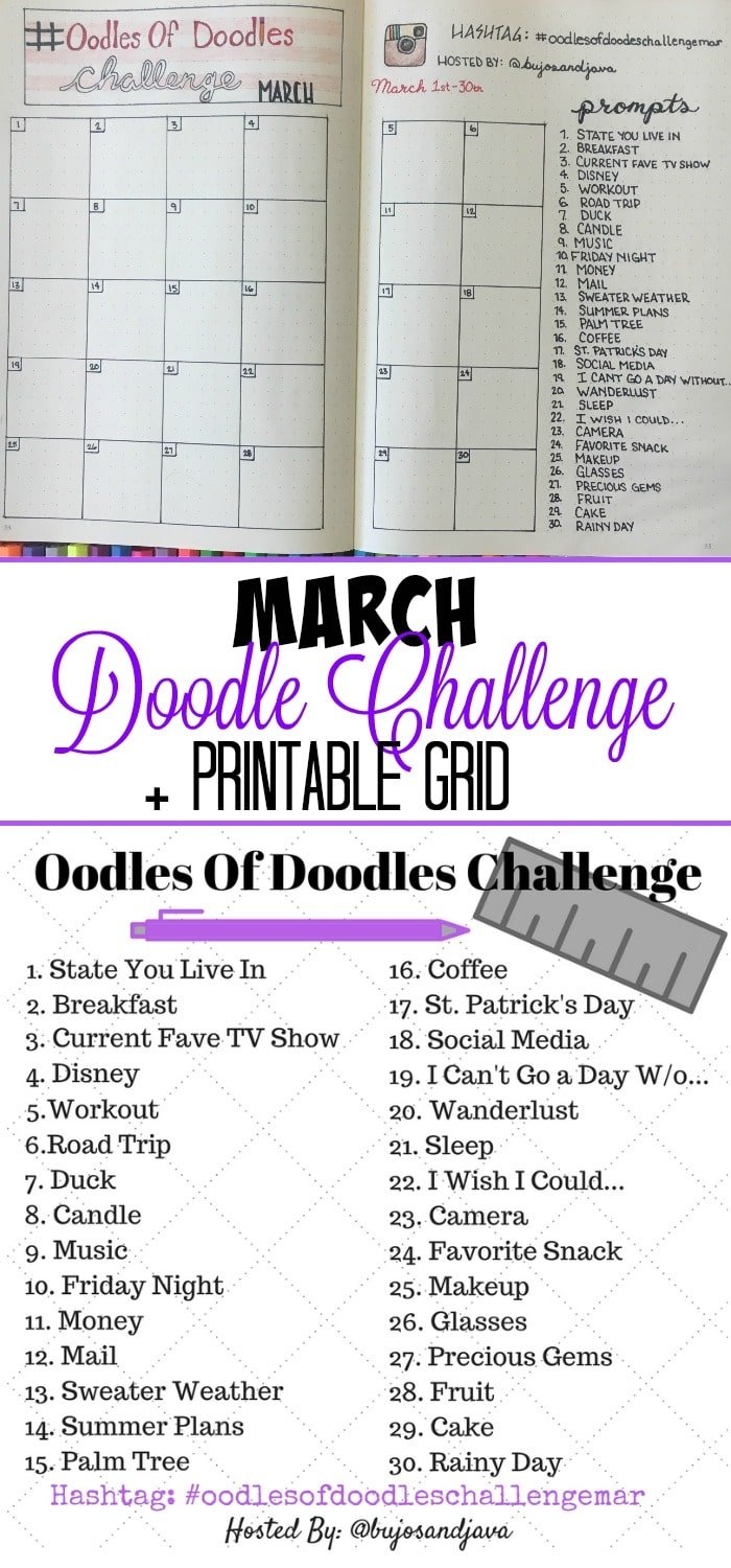 March Doodle Challenge with Free Printable. Bullet Journal Challenge