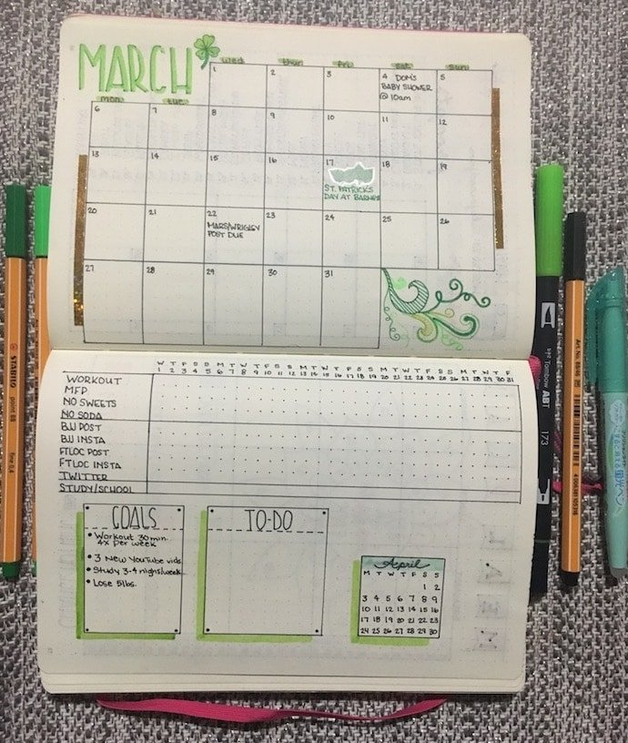 Monthly Calendar Bullet Journal : My monthly layout for march the petite planner
