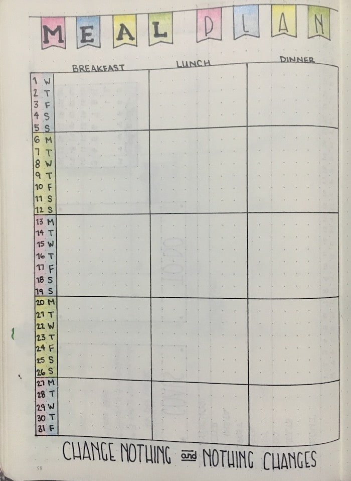 Monthly Meal Plan in Bullet Journal