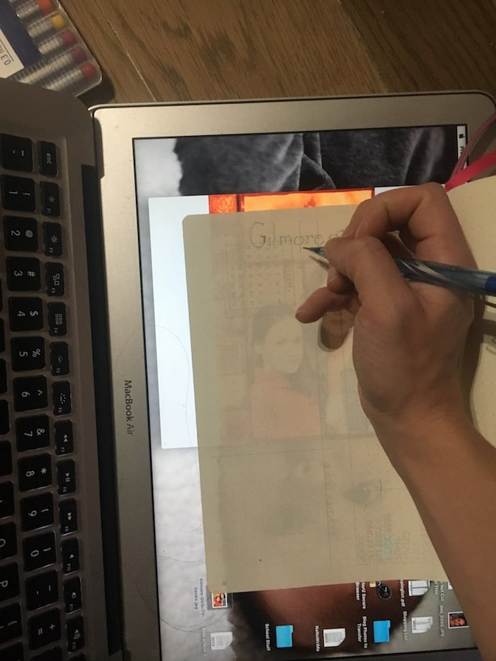 Tracing Handlettering into your Bullet Journal Hack