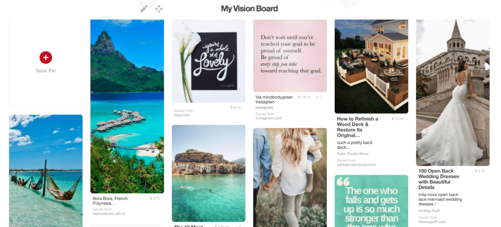 Create a vision board on Pinterest to help you achieve your goals