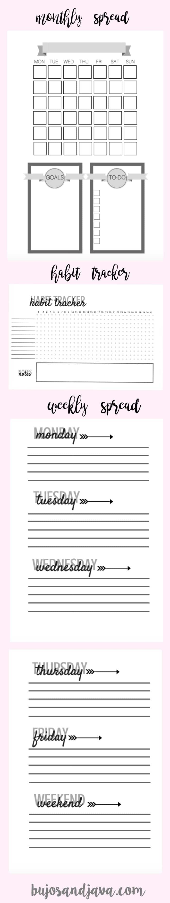 Grab these free Bullet Journal Printables including undated monthly and weekly spreads, a monthly goals section, monthly to-do list, and habit tracker