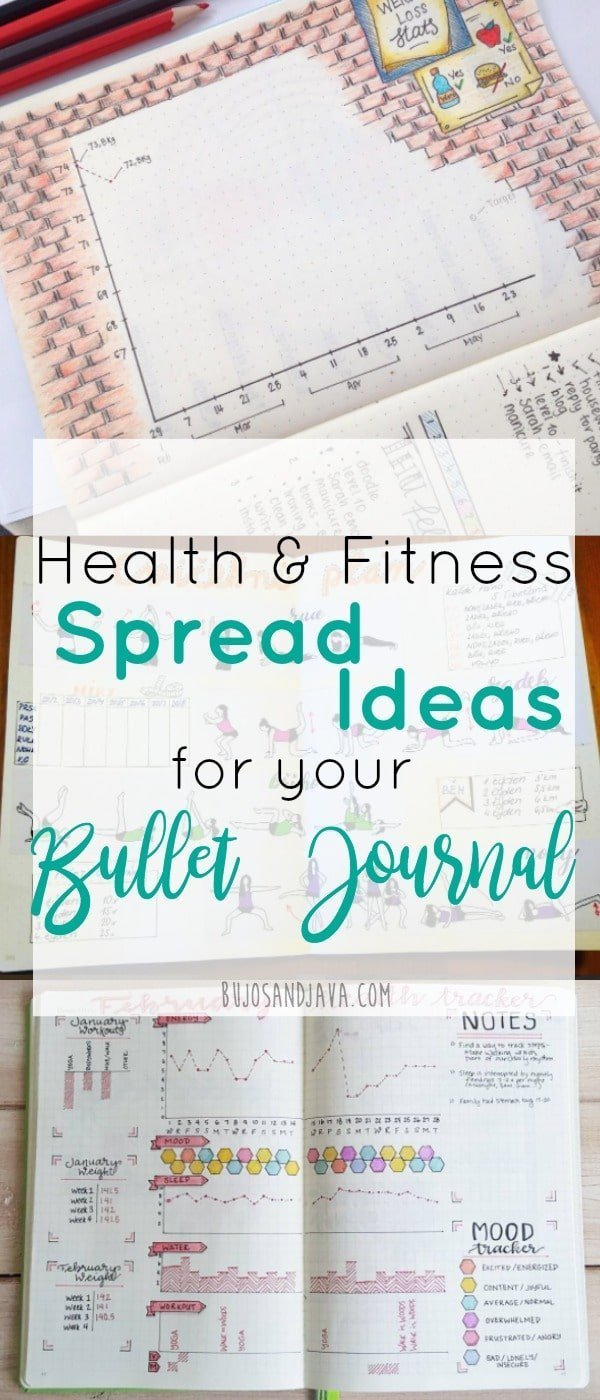 Stay on Track with these motivational bullet journal spread ideas for health and fitness.