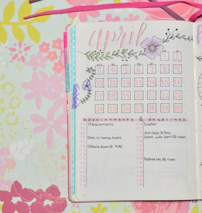 My April Setup in my Bullet Journal: Month at a Glance with columns for appointments and deadlines