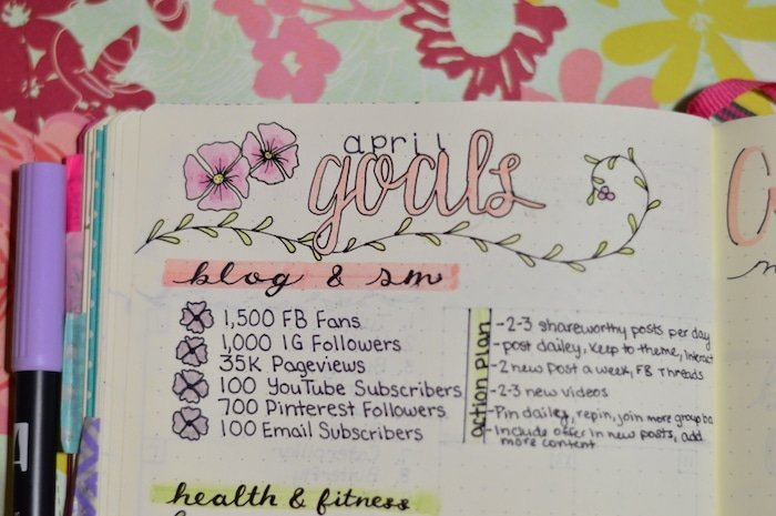 Writing down my monthly goals by category