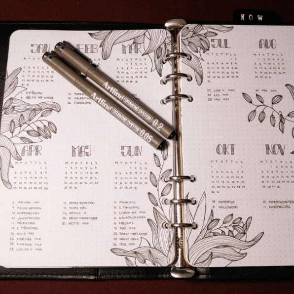 Beautiful Vertical Future log in bullet journal.