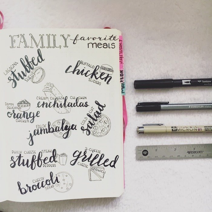 Family favorite meals in bullet journal
