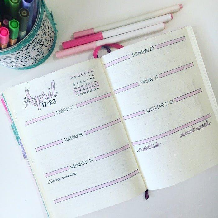 Simple Weekly log setup