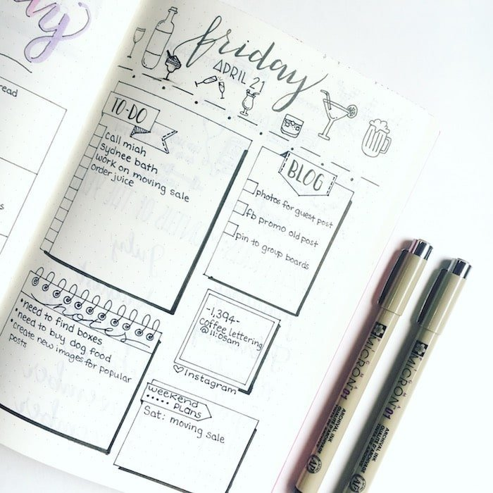 Daily log in bullet journal