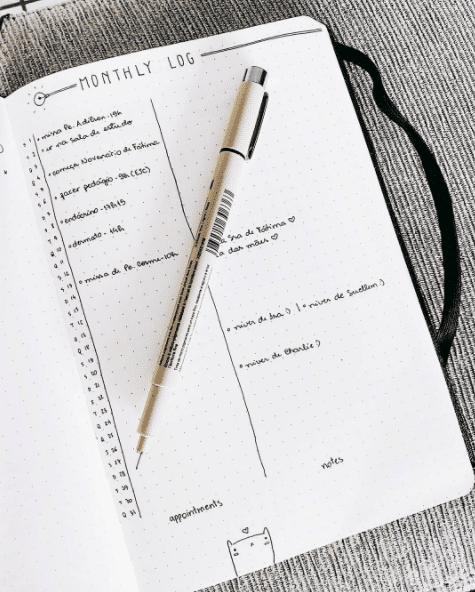 Vertical Minimal Monthly Log