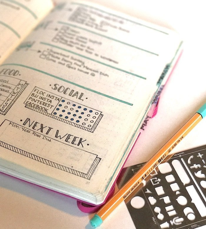 Bullet journal pens, notebooks, and stencils