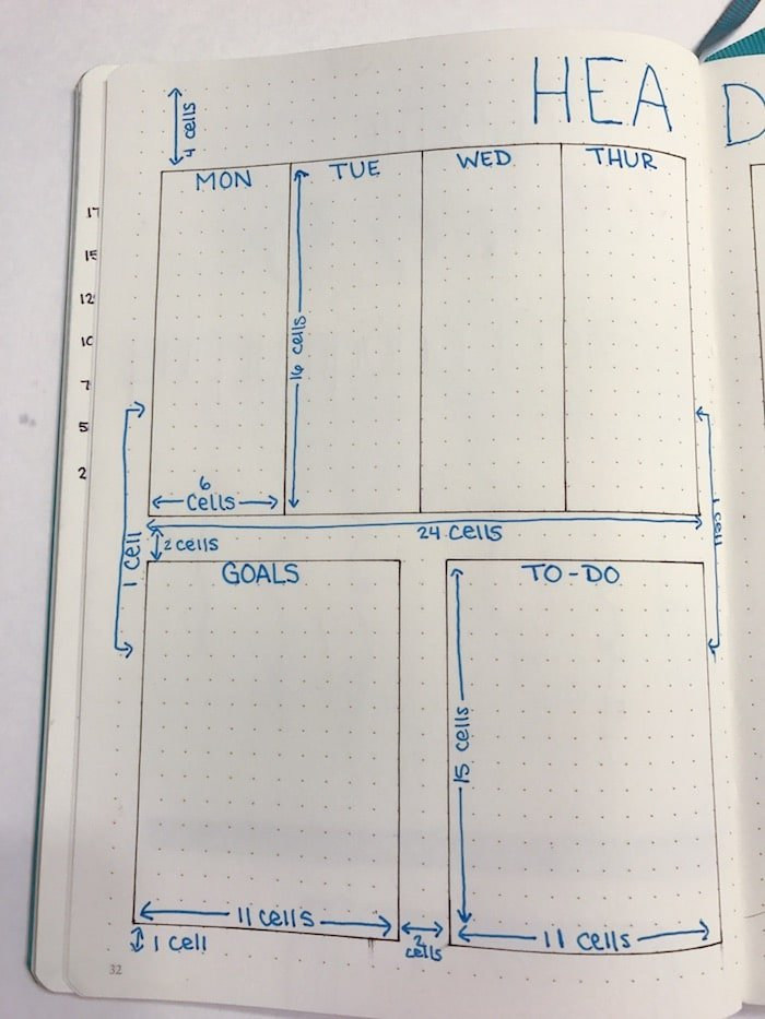 Left page of weekly spread tutorial