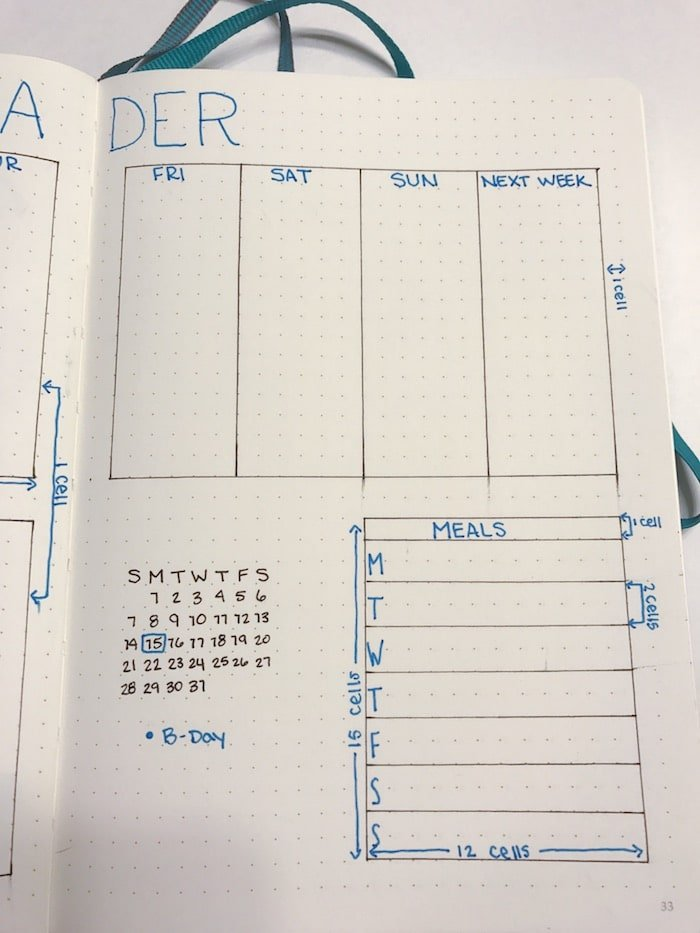 Right page of weekly spread tutorial