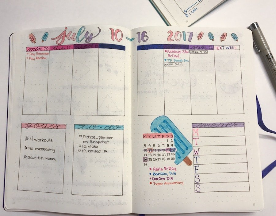 Bullet Journal Weekly Spread Tutorial