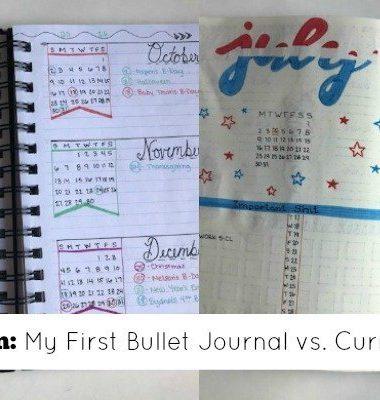 Current bullet journal vs. my first bullet journal