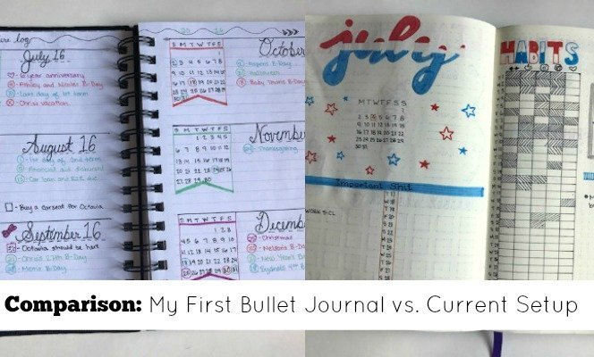 Current bullet journal vs. my first bullet journal