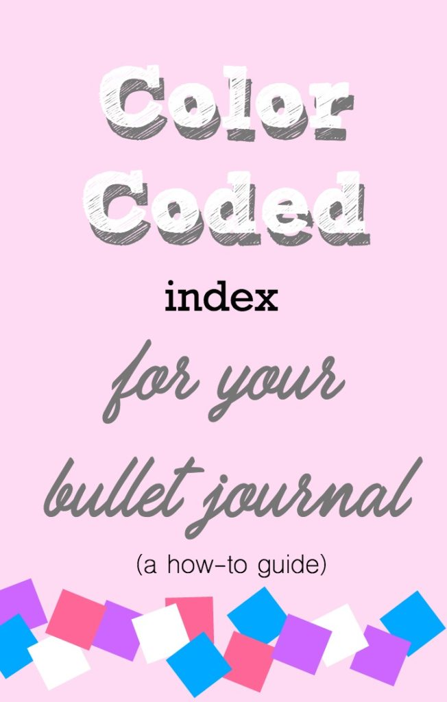 color coded bullet journal index