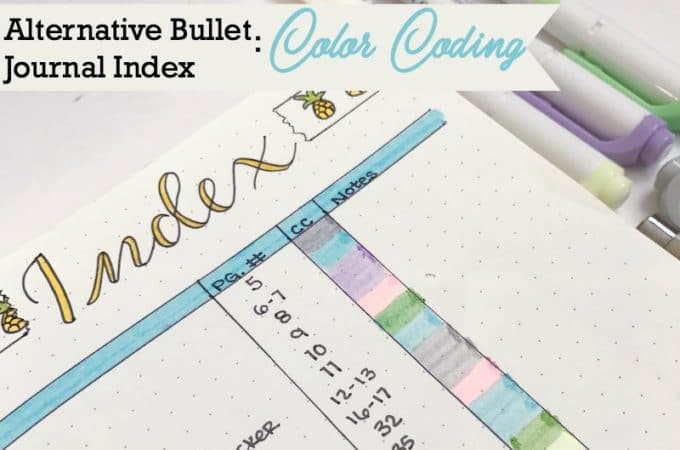 Alternative Bullet Journal Index: Color Coded