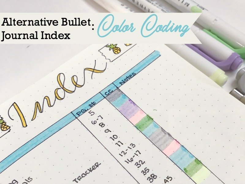 Alternative Bullet Journal Index with color coding