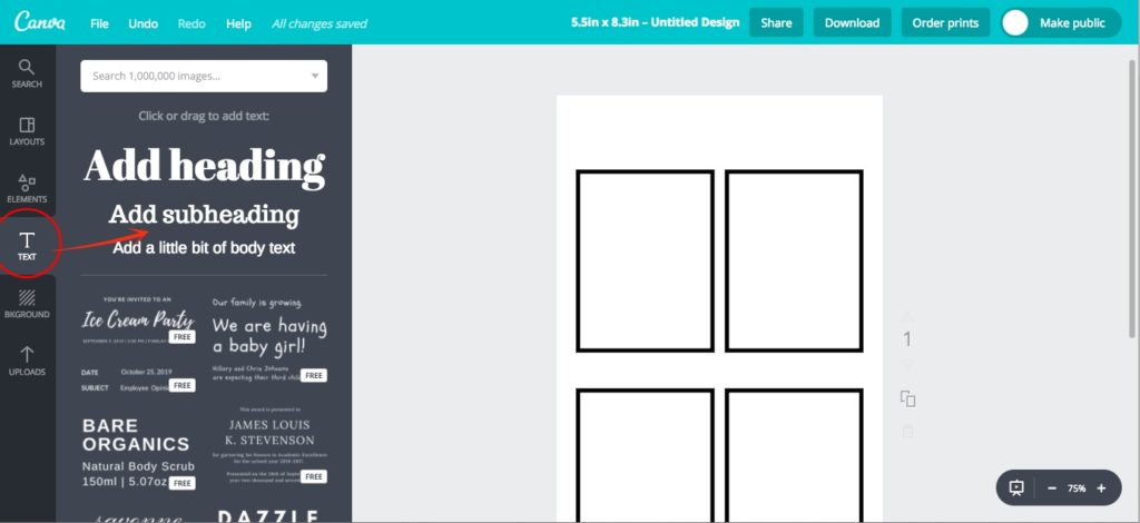 Adding text in Canva