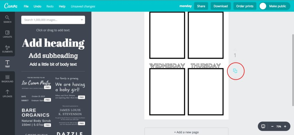 Copying a page in Canva