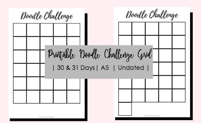 Free Printable Doodle Challenge Grids in A5 size