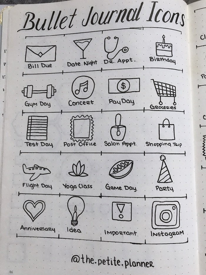 picture about Bullet Journal Symbols Printable titled 46 Icons for Your Bullet Magazine - The Pee Planner