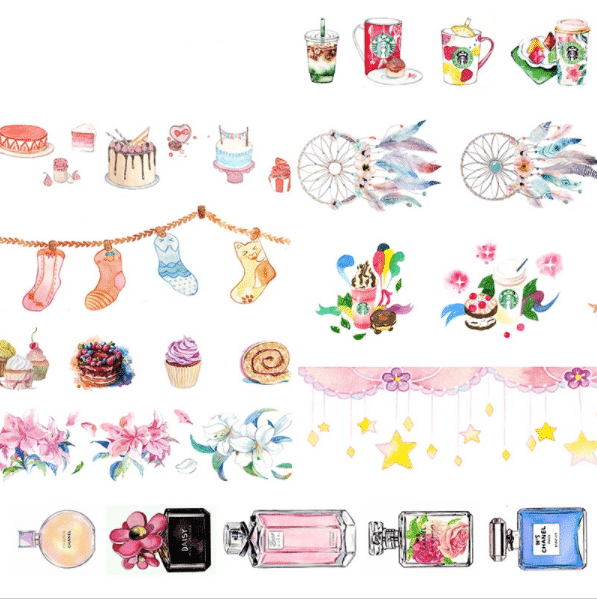 Girly washi tape for your bullet journal or planner