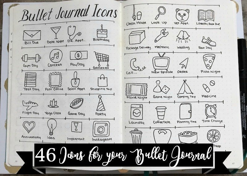 46 Icons For Your Bullet Journal The Petite Planner