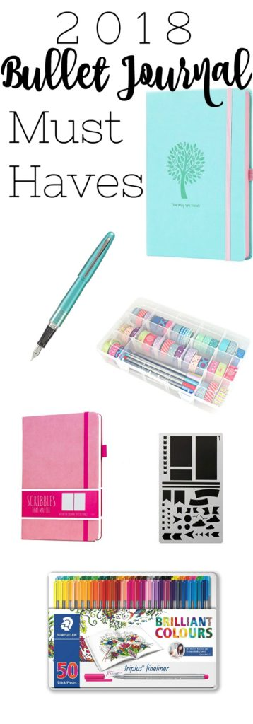 Here's your list of 2018 bullet journal supplies. From pens to notebooks, and stencils to washi tape organization.