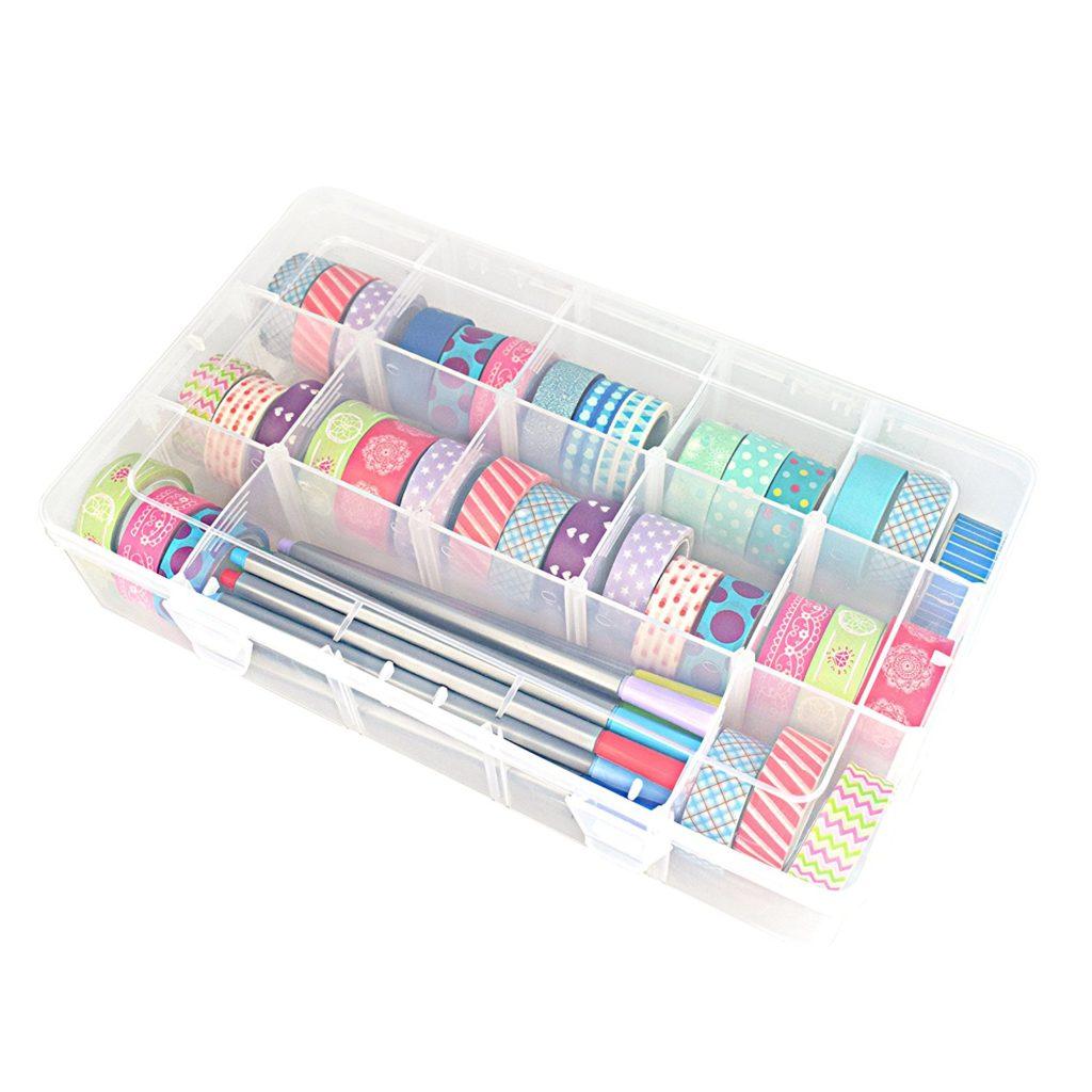 Washi tape organization clear box storage