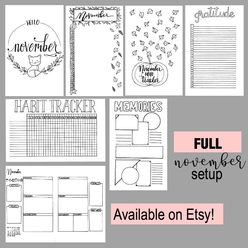 Full November Bullet Journal Printable Setup