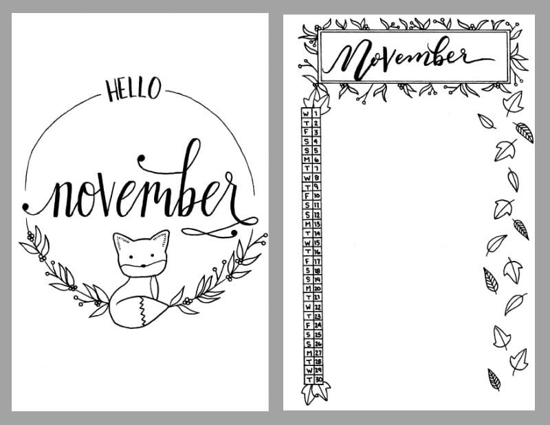 Free November Bullet Journal Printables