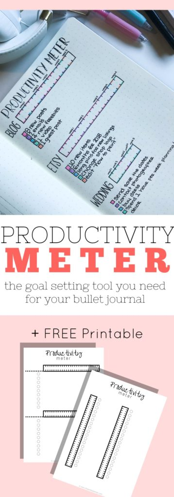 This tool is the productivity meter. It's the perfect way to plan and track your progress towards your goals. Add it to your bullet journal