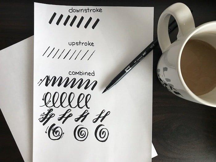 Brush lettering practice drills