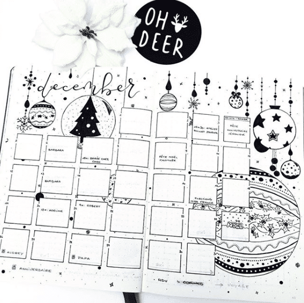 Christmas monthly setup in the bullet journal