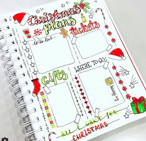 Calendar Caption Ideas : Christmas bullet journal layout ideas free printable
