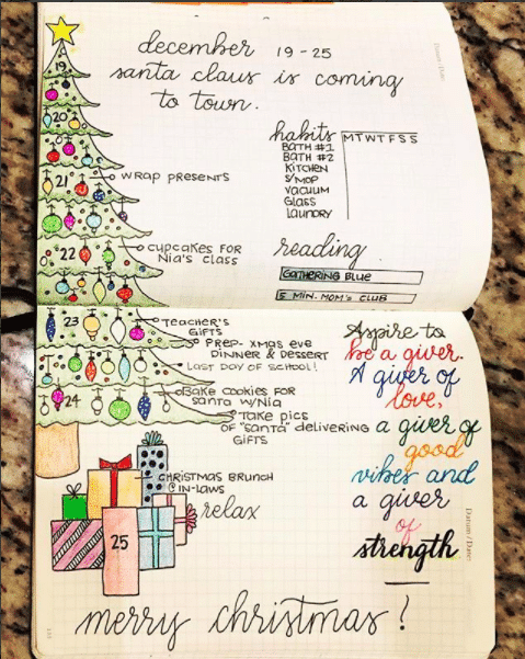Christmas Themed Bullet Journal Weekly Spread