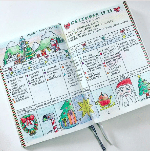 15 Christmas Bullet Journal Layout Ideas + FREE Printable Christmas ...
