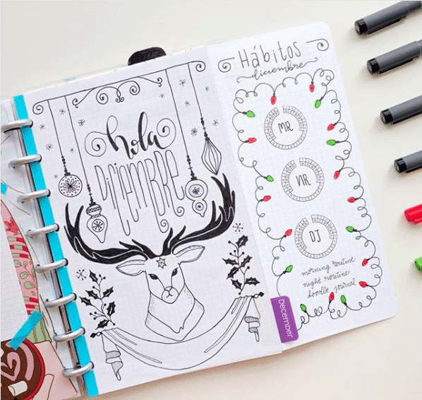christmas bullet journal layout ideas december cover page