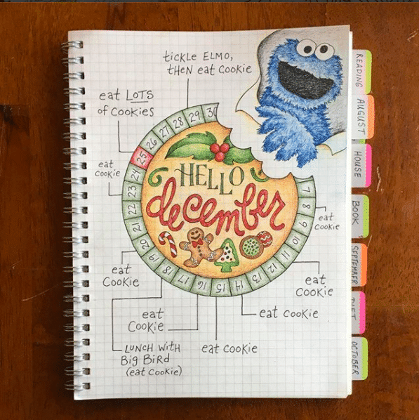 December Bullet Journal Cover Page