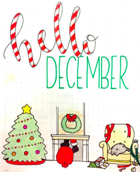 Christmas Pusheen Bullet Journal Setup
