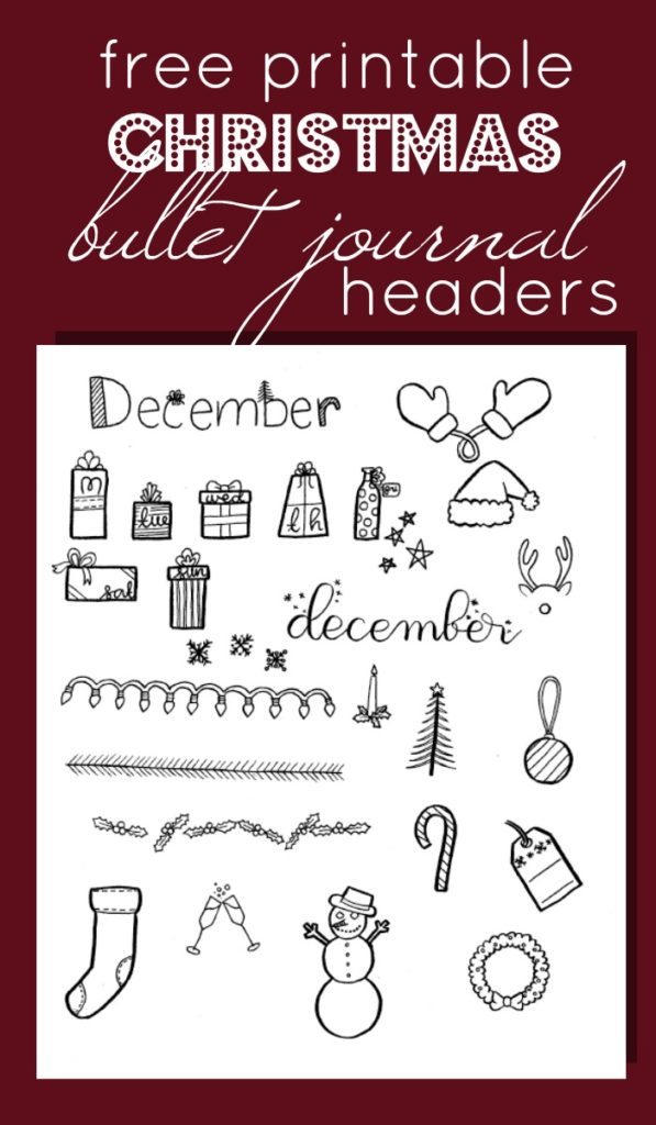 Free Printable Christmas Headers for your Bullet Journal