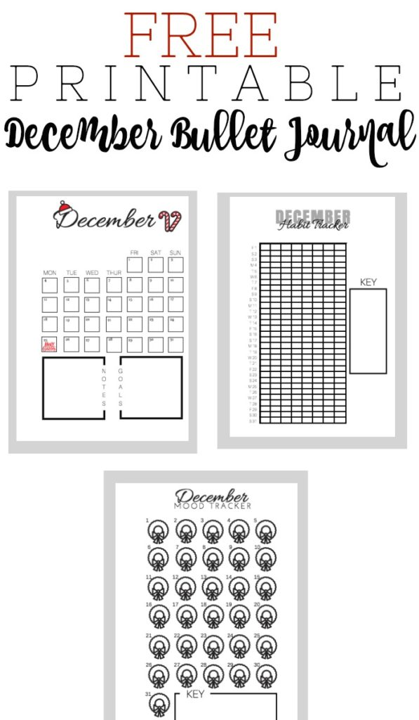 Printable December Bullet Journal Layout - The Petite Planner