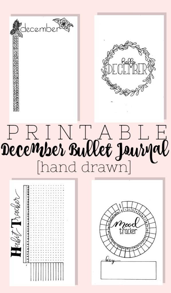 Grab this hand drawn December 2017 bullet journal setup complete with cover page, habit tracker, gratitude log, mood tracker, and two weekly layouts