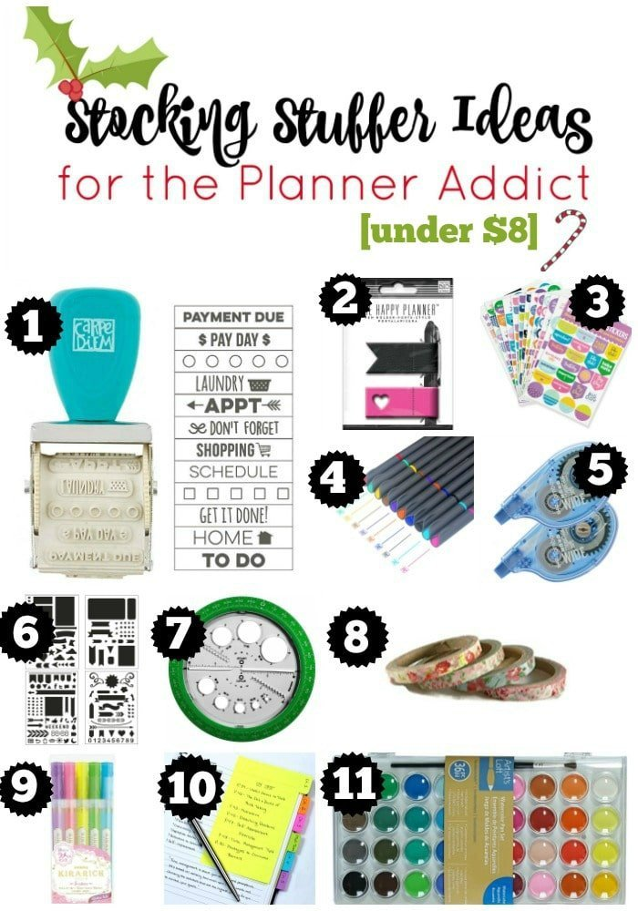Budget Stocking Stuffers for the Planner Addict. All under $8. Non-junk stocking stuffers
