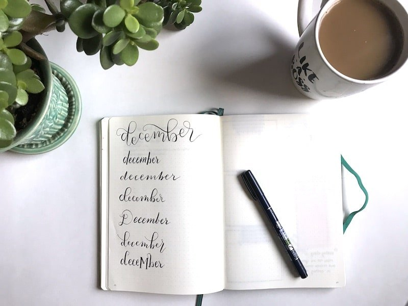 Brush Lettering December Flat Lay